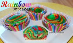 Fun and Easy Rainbow Cupcakes! http://www.spendwithpennies.com/rainbow-cupcakes/