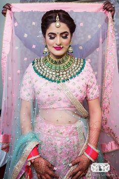 If you are going to be a bride soon and already know what you'll be wearing on your functions, then the next step is getting the perfect wedding makeup. Here are some Indian bridal makeup images to help you pick what you want. Designer Bridal Lehenga, Pink Bridal Lehenga, Lehenga Wedding, Pink Lehenga, Bridal Makeup Images, Indian Bridal Makeup, Bridal Outfits, Bridal Dresses, Bridal Looks
