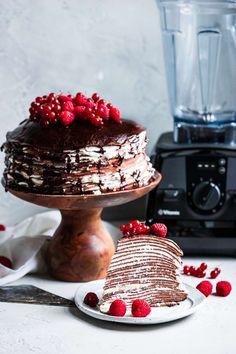 Chocolate crepe cake with whipped mascarpone cream