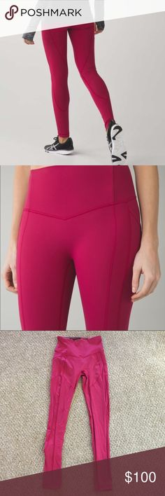 """Lululemon ATRP Berry Rumble Lululemon All The Right Plants full length (28"""" inseam) Pants. Color is berry rumble - more of a reddish pink, very similar in color to Rosewood. Not too bright. I absolutely love these but they're a little big on me. Price is firm here on posh. Thank you! lululemon athletica Pants Leggings"""