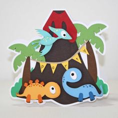 Dinosaur Invitation - Birthday party, Dinosaur party, volcano shaped invitation