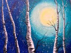 Beginner Acrylic Painting Class Birch Trees #lovewinterart ...