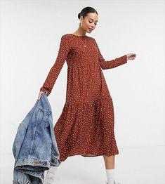 rust long sleeve polka dot maxi dress - engagement outfits Engagement Dresses, Engagement Photo Outfits, Engagement Photos, Asos, Polka Dot Maxi Dresses, Stylish Suit, Tall Dresses, Robes Midi, Mi Long