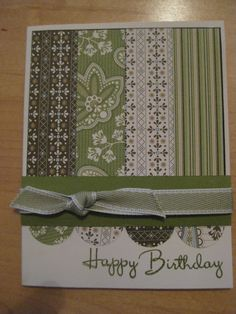 Great idea of use of matching multiple papers for an easy but pretty card. Happy Birthday card
