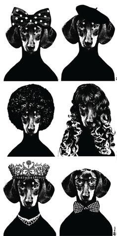 Closer view of dachshund prints by Lisa Bengtsson