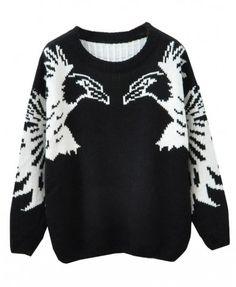 Symmetrical Eagles Round Neckline Pullover