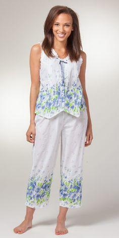 Capri Cotton Pajamas - La Cera Sleeveless Pajamas in Meadow Mist