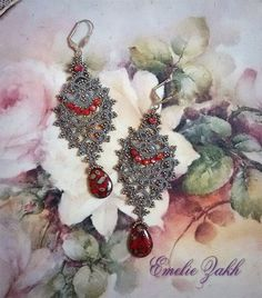 Free shipping.Exclusive!!! Earring is tatting.Unique hand made Jewellery.Victorian style.