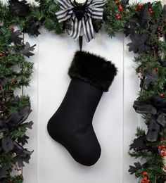 Items similar to Spooky Cute Skulls and Bats Purple Christmas Stocking, Black Faux Fur, Halloween Decoration, Black Canvas Liner, Punk Rock Goth Kids on Etsy Purple Christmas, Halloween Christmas, All Things Christmas, Christmas Time, Christmas Ideas, Merry Christmas, Holiday Ideas, Christmas Crafts, Christmas Colors