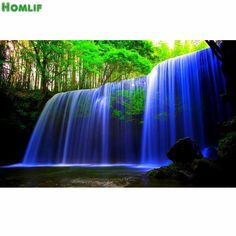 [Visit to Buy] Diy Full round Diamond Painting waterfall Cross Stitch Household Decoration Diamond Mosaic Embroidery Paintings landscape #Advertisement