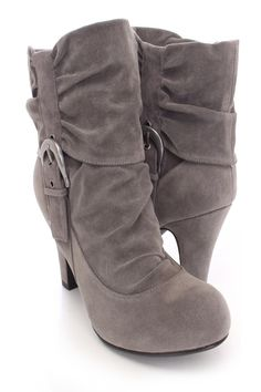 a64088ba2240 Grey Slouchy Ankle Booties Faux Suede