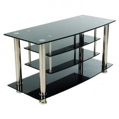 tempered glass bookcase entertainment center | Black Glass Plasma and Chrome Drop-down Shelf Entertainment Center