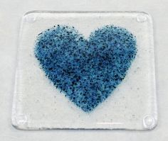 Items similar to Blue Heart Fused Glass Coaster on Etsy Fused Glass Plates, Fused Glass Art, Mosaic Glass, Stained Glass, Glass Fusion Ideas, Glass Fusing Projects, Glass Coasters, Glass Magnets, Glass Photo