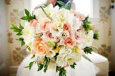 bouquet de flores, Buquês de flores, rosas, redondo, branco, laranja, rosa