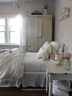Wonderful Bedroom. Grey, Pink White, Chippy, Shabby Chic, Whitewashed, Cottage, French Country, Rustic, Swedish decor Idea. *** Repinned from Farmhouse Junk ***.  The post  Be ..