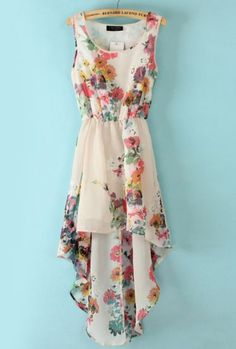 "Really looks like my dress, and I found this fr ""sheinside.com."" Cool!   White Sleeveless Bandeau Floral High Low Dress pictures"