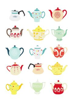 @Marie Stankard, I could see you hanging this in your NEW kitchen! Teapots A4 print by lauraamiss on Etsy, €10.50