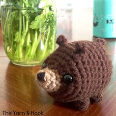Free Pattern for Crocheted Tiny Mountain Bear from theyarnandhook.com