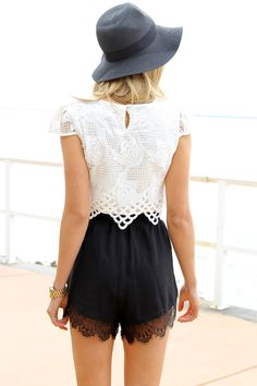 Cropped top, high waisted shorts