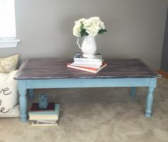 Farmhouse Coffee Table available now! This rustic coffee table has been finished in General Finishes Antique Walnut and Java Gel Stain then whited washed and sealed with High Performance Top Coat for maximum durability. The bottom is hand painted in Provence and waxed with Miss Mustard Seed's White Wax for that perfect shabby chic look! #ascp #provence #generalfinishes #antiquewalnut #java #gelstain #whitewash #mms #whitewax