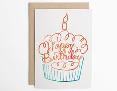 Happy Birthday Cupcake Cute Happy Birthday Card by seaandlake Cute Happy Birthday, Happy Birthday Cupcakes, Cool Birthday Cards, Bday Cards, Birthday Images, Birthday Quotes, Deco Tumblr, Happy Birthday Hand Lettering, Watercolor Inspiration