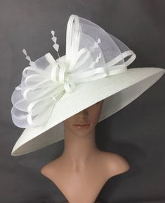 White Kentucky Derby Hat,Derby Hat,Dress Hat Wedding Hat Wide Brim Hat Tea Party Hat Ascot in 2020 Hat For The Races, Race Day Hats, Sinamay Hats, Fascinators, Headpieces, Tea Party Hats, Bridal Hat, Pamela, Cocktail Hat