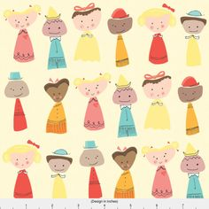Friends From Around the World Fabric  Little People by Spoonflower