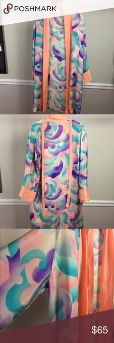 Vintage Silk Kimono Spectacular colors! Silk appears to be hand printed. Hand sewn.  Purchased at a vintage clothing store way back in the 80's! I estimate that it is from the 1930's.  Most recently worn to a cocktail party over a turquoise silk chemise dress, with champagne-colored strappy heels.       Some signs of age, pictured, and certainly not obvious while wearing. Selling AS IS because it is vintage. Other
