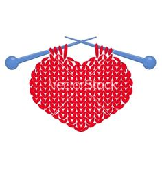 Knitted heart isolated vector on VectorStock®