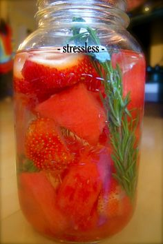Stressless  The blend of watermelon and rosemary is divine.  This vitamin water is ideal for helping you balance stress on a mental and physiological level.  With the addition of B vitamins, hydrating watermelon and calming rosemary this combination is best used during times of stress or intensity.
