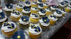 NAVY Themed cupcakes with Anchors, ropes and flowers
