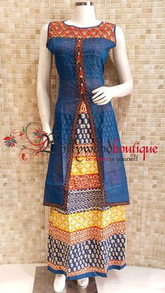 Ethnic Dress 7 Fabric : Cotton ( Inner ) / Chanderi ( Upper ). Color : Multi Color. Style : Ethnic Style. Product Details : Look gorgeous in this ethnic style dress in double layered pattern & center cut style. A Perfect piece for any occasion. Price : Rs: 1580 /-