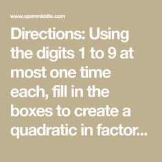Directions: Using the digits 1 to 9 at most one time each, fill in the boxes to create a function such that at x = the derivative (at that point) is closest Algebra Problems, Absolute Value, Distributive Property, One Time, Calculus, Fill, Boxes, Create, Middle