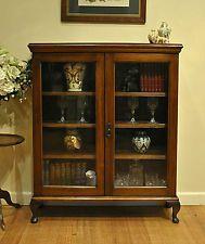 Antique Walnut Queen Anne 2 Door Bookcase / Display * Crystal * China Cabinet