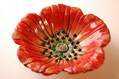 Small poppy bowl by natalyasots on Etsy
