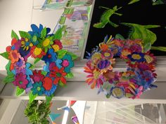 Anzac Day wreaths for school assembly. Top - oil pastels. Bottom- water colour. By 1A &1H