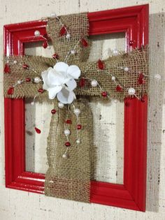 Flowered Burlap Cross in a Frame by CraftRoomBaby on Etsy