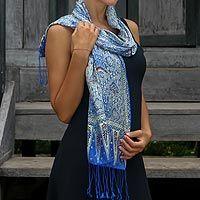 Silk batik scarf, 'Royal Java Blue' - Handmade Silk Batik Scarf from Indonesia