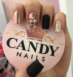 Acrylic Nails Nude, Glitter Gel Nails, Nude Nails, My Nails, Cute Acrylic Nail Designs, Nail Art Designs, Sassy Nails, Pretty Nail Art, Nail Art Hacks