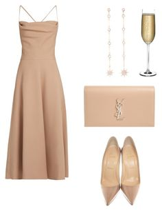 """Sin título #119"" by regiina98 on Polyvore featuring moda, Valentino, Nude, Yves Saint Laurent, Christian Louboutin y Bee Goddess"