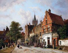 Adrianus Eversen (Dutch, 1818–1897) A view in Delft , 1885–1885