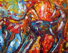 Fauvist palette knife horses-look like yearlings playing to me!