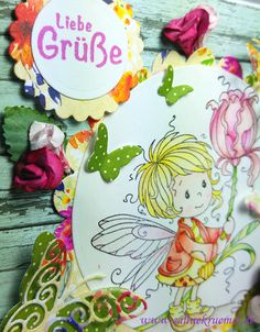 """Best wishes/Liebe Grüße Greeting Card with """"Maya"""" Whimsy Stamps; Designerpaper Paper Pad """"Calendar Girl"""" BoBunny; Butter fly die Rayher; Sentiment Marianne Design; Spellbinders Circles & Scalloped Circles; Colored with TwinklingsH2O"""