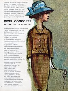 Balenciaga & Hubert de Givenchy 1960 Hats, Suits, Drawings Falk, 6 ...
