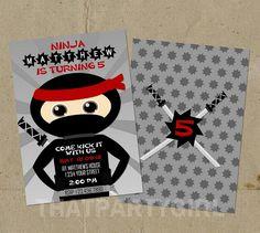 Ninja Birthday Party Invitations  DIY Digital U by thatpartygirl