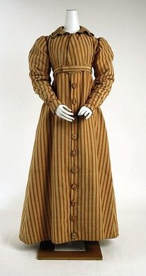 1820s Striped Pelisse High waisted, long gathered sleeves, buttons down front. Europe metmuseum.org