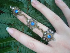 claw ring Swarovski triple armor ring nail ring BLUE knuckle ring steampunk ring vampire victorian moon goddess pagan witch boho gypsy style