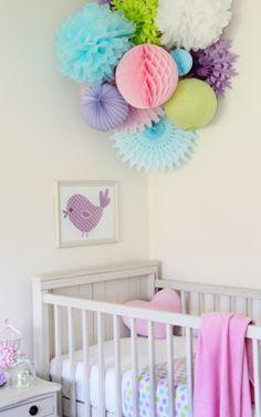 paper lanterns pom poms nursery - Google Search