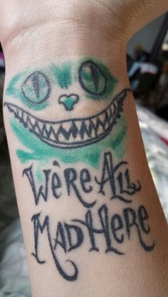 Tim Burton tattoo, Cheshire cat, Alice in Wonderland tattoo we're all mad here