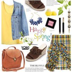 denim jacket.wedge sandals.chiffon vest.ruffle skirt- yoins 10
